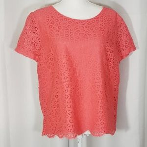 J Crew Factory Eyelet Coral SS Blouse Size 14